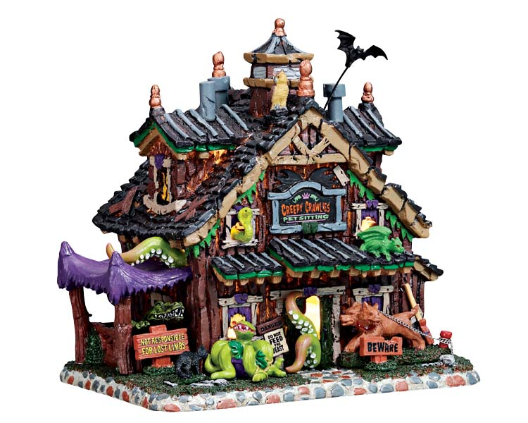 Lemax Spooky Town Creepy Crawlies Pet Sitting Battery Operated # 75184