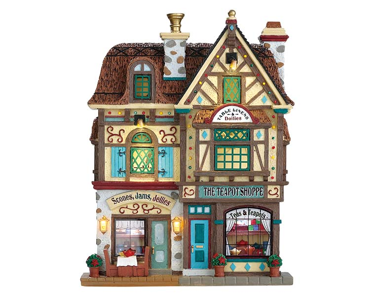 Lemax Village Collection The Teapot Shoppe Facade Battery Operated # 75198