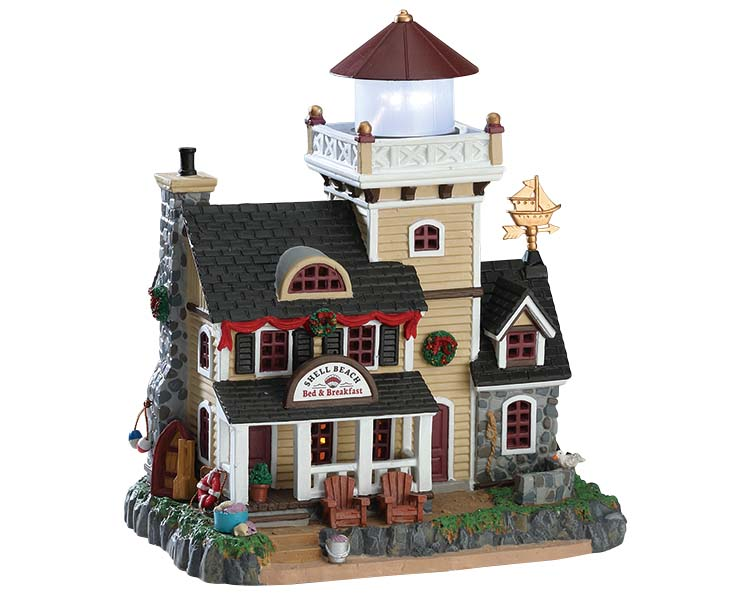 Lemax Village Collection Shell Beach Lighthouse B&B  Battery Operated # 75210