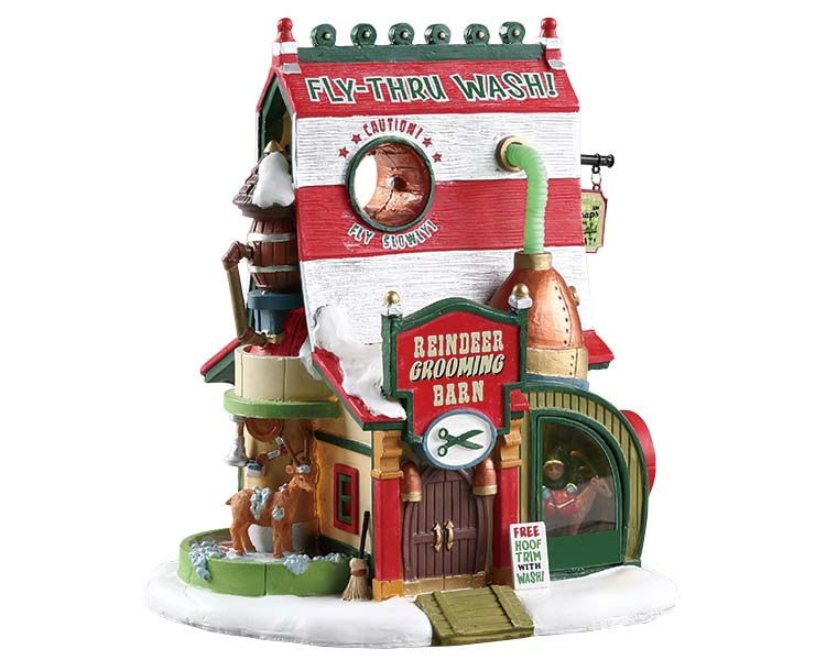 Lemax Village Collection Reindeer Grooming Barn Battery Operated # 75293