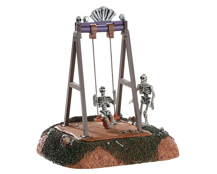 Lemax Spooky Town Skeleton Swings Battery Operated # 84334