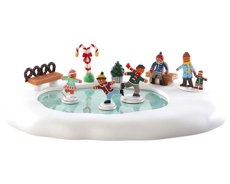Lemax Village Collection Gingerbread Skating Pond Battery Operated # 84352