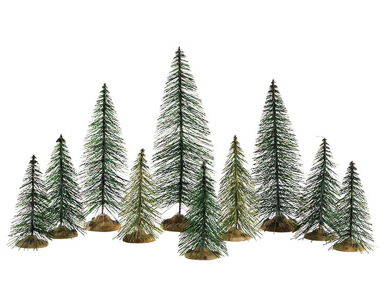 Lemax Village Collection Needle Pine Trees Set of 10 # 84358