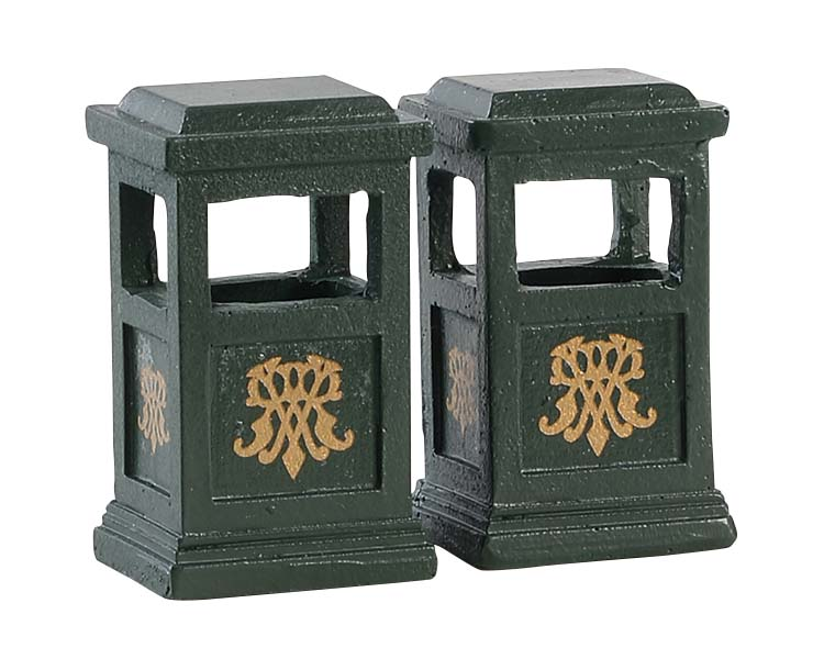 Lemax Village Collection Green Trash Can Set of 2 # 84386