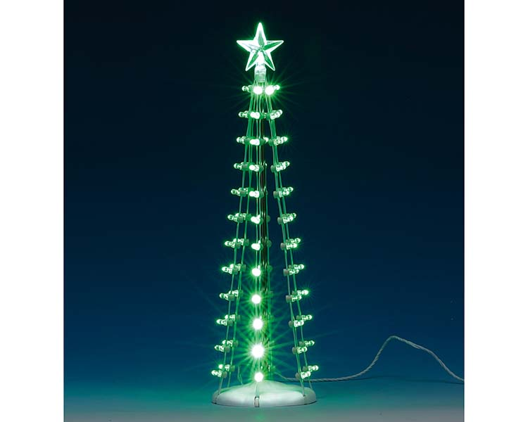Lemax Village Collection Lighted Silhouette Tree Green Battery Operated # 84399