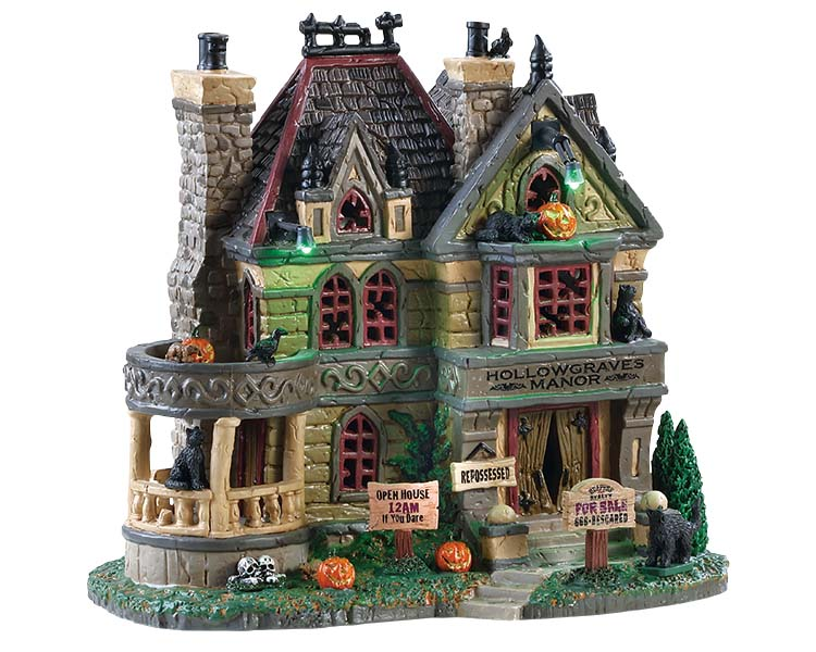 Lemax Spooky Town Hollowgraves Manor with Adaptor # 85306