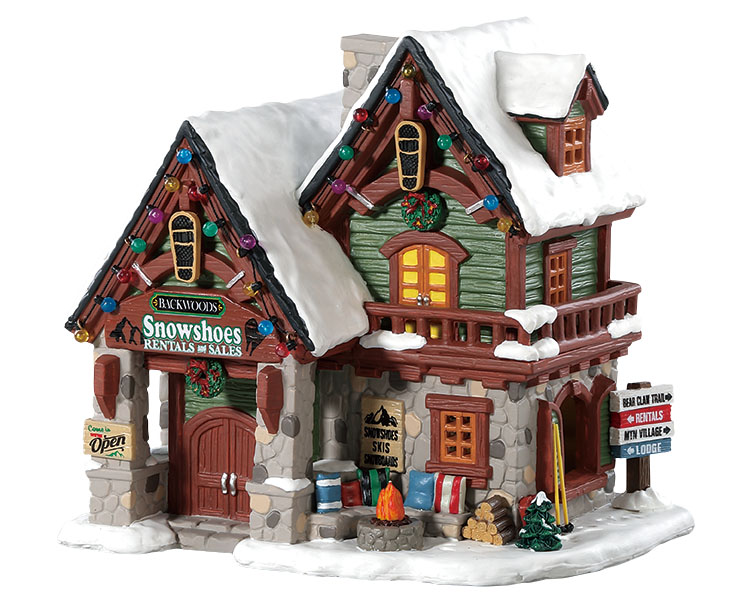 Lemax Village Collection Backwoods Snowshoe Rental Shop # 85328