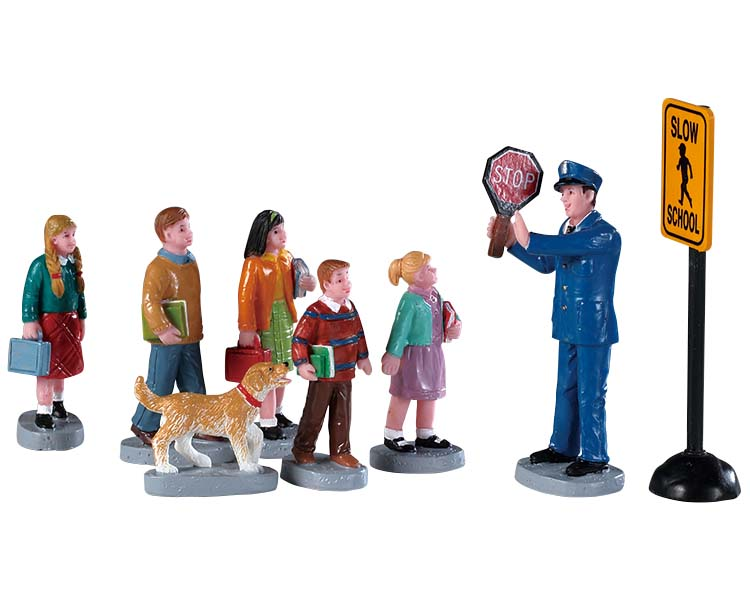 Lemax Village Collection The Crossing Guard Set of 8 # 92753