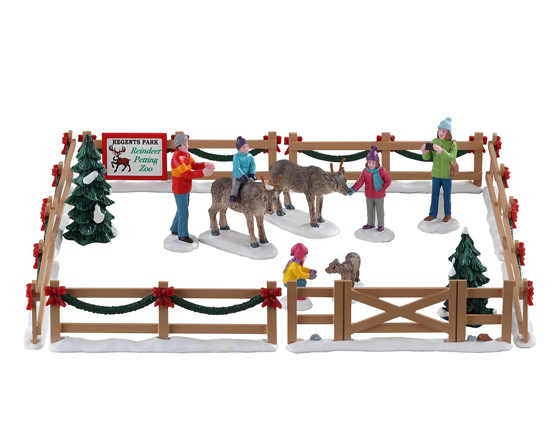 Lemax Village Collection Reindeer Petting Zoo Set Of 17 # 93434