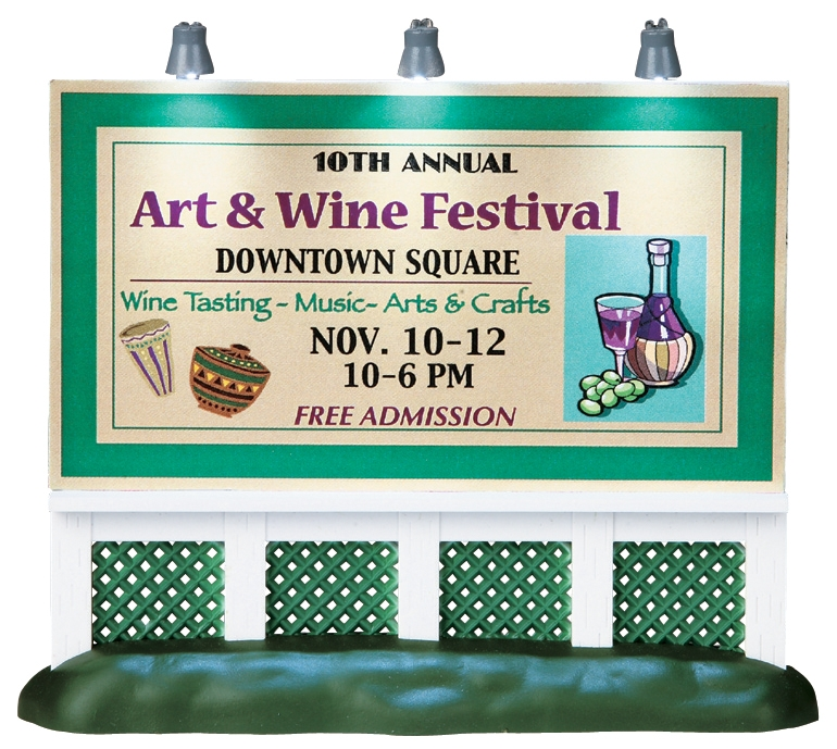 Lemax Village Collection Art and Wine Festival Billboard Battery Operated # 94026