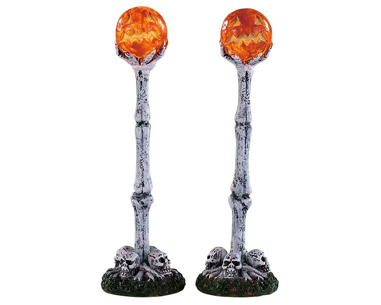 Lemax Spooky Town Lighted Lantern Bone Post Set Of 2 Battery Operated # 94490