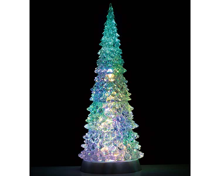 Lemax Village Collection Crystal Lighted Tree Four Color Changeable and Color Transformation Extra Large Battery Operated # 94510