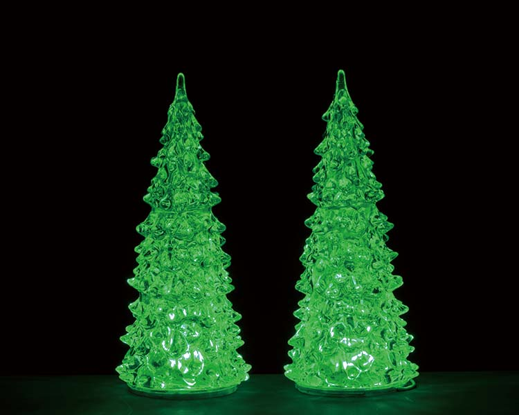 Lemax Village Collection Crystal Lighted Tree Three Color Changeable Medium Set of 2 Battery Operated # 94517