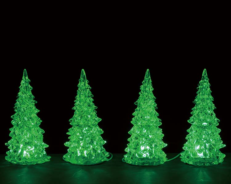 Lemax Village Collection Crystal Lighted Tree Three Color Changeable Small Set of 4 Battery Operated # 94518