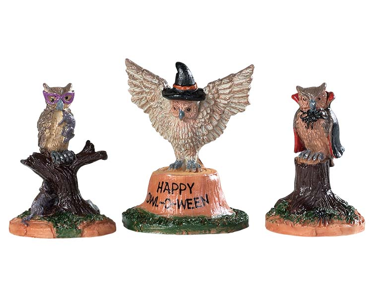 Lemax Spooky Town Happy Owl-O-Ween Set of 3 # 94524