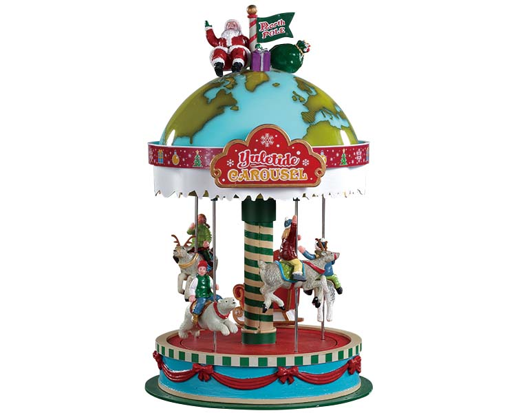 Lemax Village Collection Yuletide Carousel Battery Operated # 94525