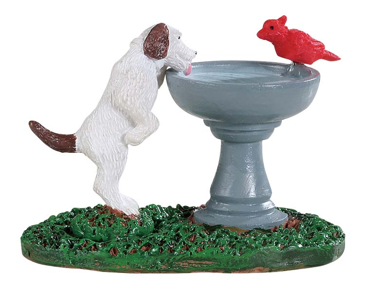 Lemax Village Collection Bird Bath Dog Fountain # 94535