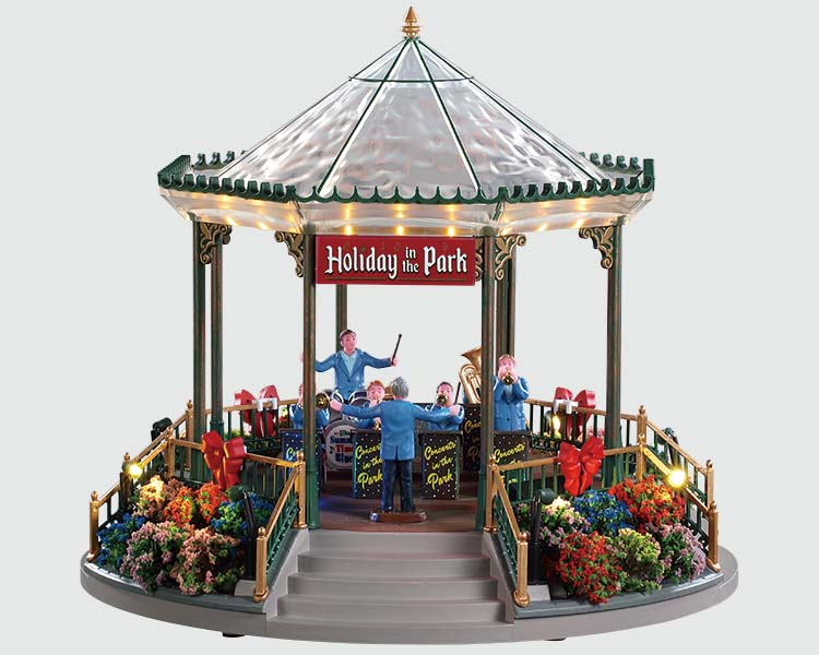 Lemax Village Collection Holiday Garden Green Bandstand with Adaptor # 94551