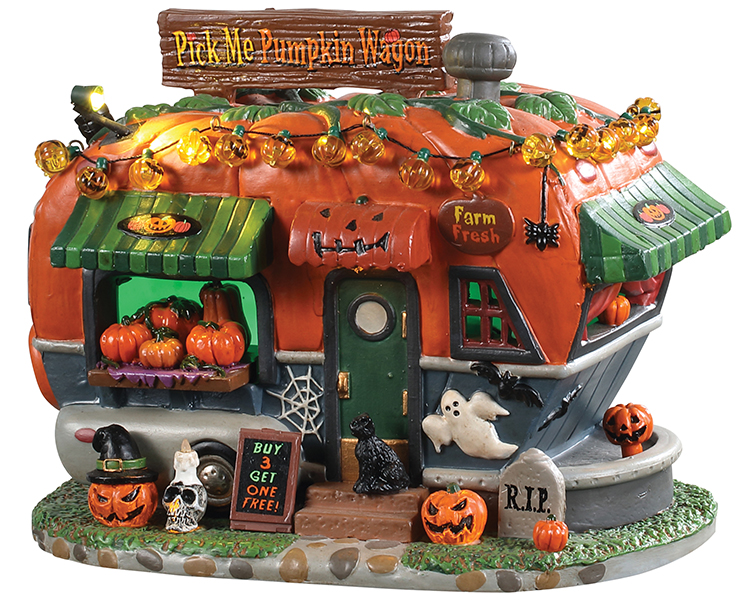 Lemax Spooky Town Pick Me Pumpkin Wagon Battery Operated # 95444