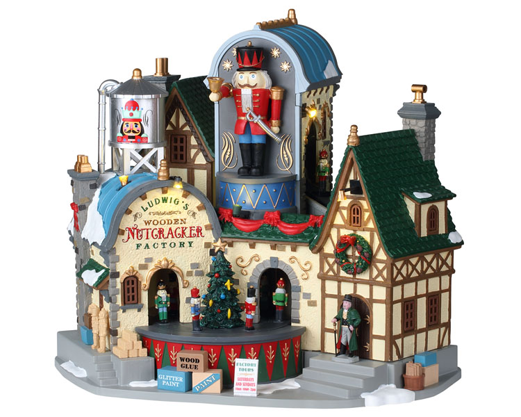 Lemax Village Collection Ludwig's Wooden Nutcracker Factory with Adaptor # 95463
