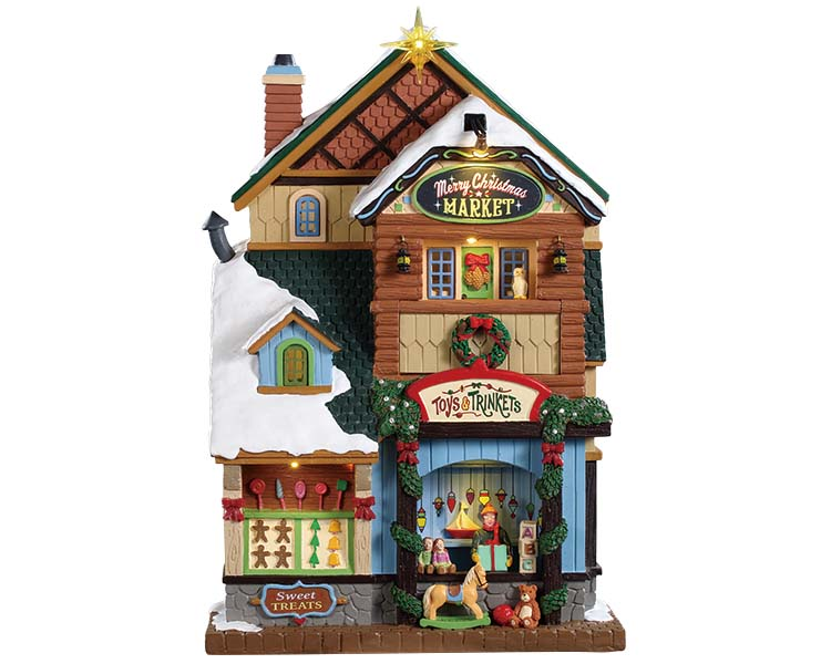 Lemax Village Collection Merry Christmas Market Battery Operated # 95471