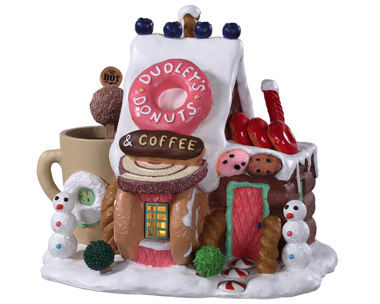 Lemax Village Collection Dudley's Donut Shop Battery Operated # 95529