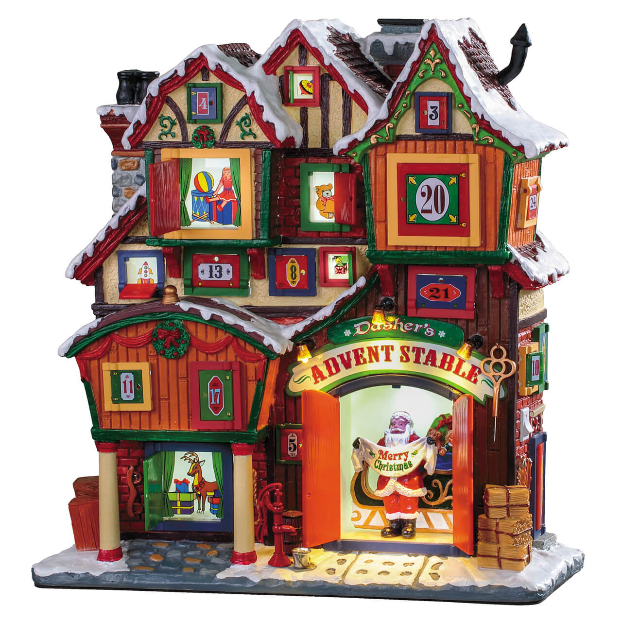 Lemax Village Collection Dasher's Advent Stable Battery Operated # 95569