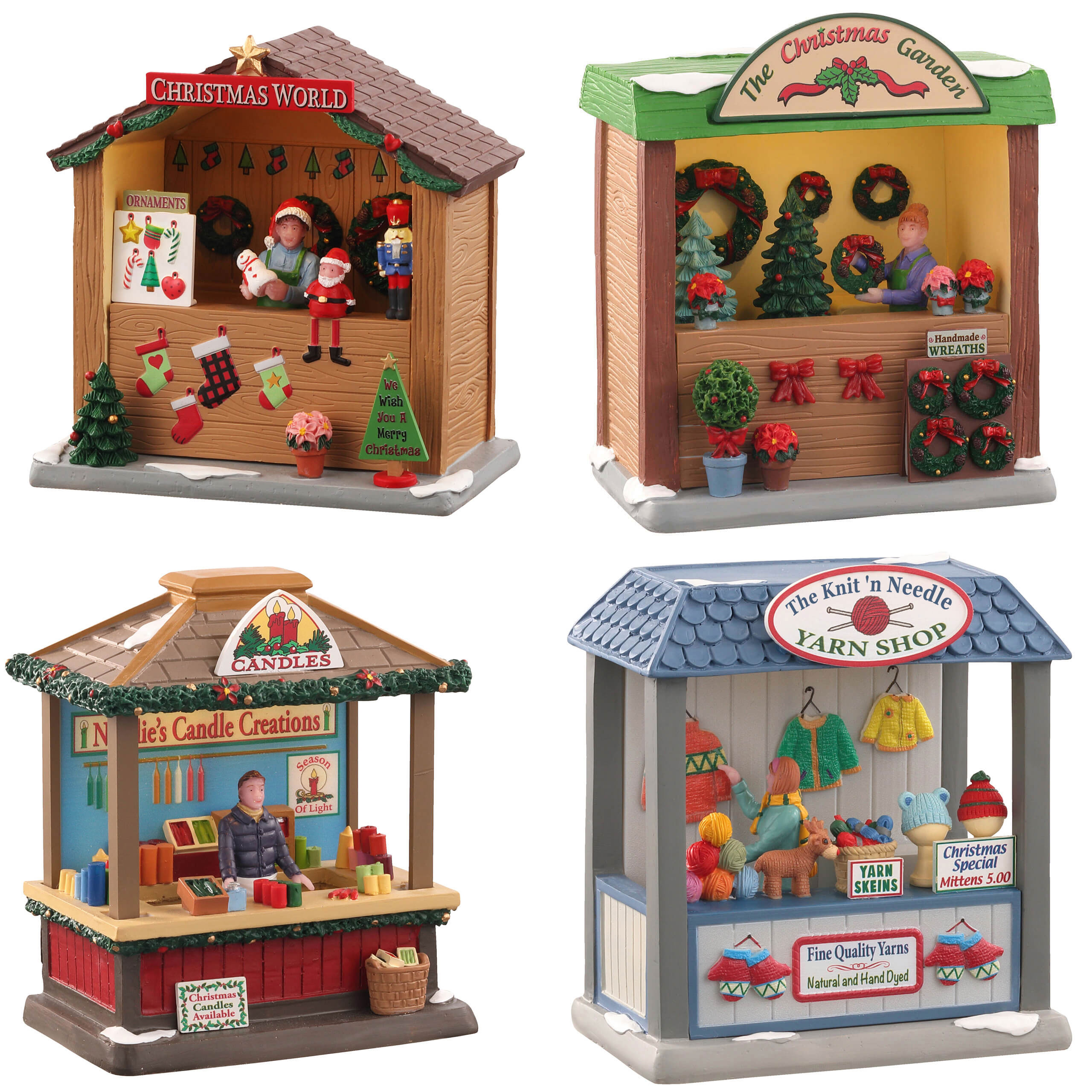 **NO OUTER BOX** Lemax Village Collection Christmas Market Series 2 Set of 4 Battery Operated # A4861 **READ DESCRIPTION**