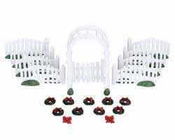 Lemax Village Collection Plastic Arbor & Picket Fences with Decorations Set of 20 # 04233