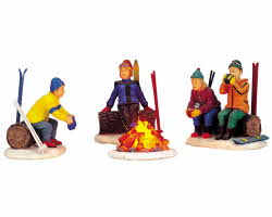 Lemax Village Collection Skiers Camp Fire Set of 4 # 04468