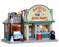 **NO OUTER BOX** Lemax Village Collection Greeley & Sons Auto Parts # 05028 **READ DESCRIPTION**