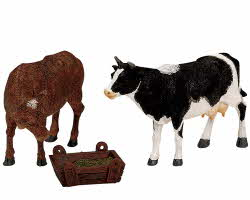 Lemax Village Collection Feeding Cow & Bull Set of 3 # 12512