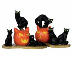 Lemax Spooky Town Halloween Cats Set of 2 # 12883