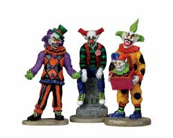 Lemax Spooky Town Evil Sinister Clown Set of 3 # 12885