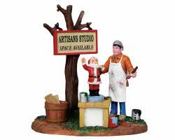 Lemax Village Collection Painting Wooden Santas # 13915