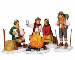 Lemax Village Collection Alpine Ski Party Set of 4 Battery Operated # 14356
