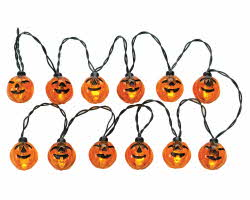 Lemax Spooky Town Lighted Pumpkin Garland String Set of 12 # 24759