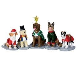 Lemax Village Collection Costumed Canines Set of 5 # 32126