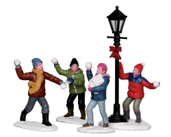Lemax Village Collection Snowball Fight! Set of 4 # 32133