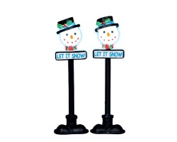 Lemax Village Collection Snowman Street Lamp Set of 2 Battery Operated # 34640