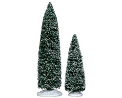 Lemax Village Collection Snowy Juniper Tree Large and Medium Set of 2 # 34664