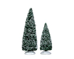 Lemax Village Collection Snowy Juniper Tree Medium and Small Set of 2 # 34665