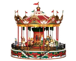 **NO OUTER BOX** Lemax Village Collection Santa Carousel with Adaptor # 34682 **READ DESCRIPTION**