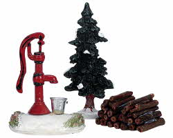 Lemax Village Collection Water Pump, Tree & Firewood Set of 3 # 34953
