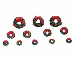 Lemax Village Collection Wreaths With Red Bow Set of 12 # 34957