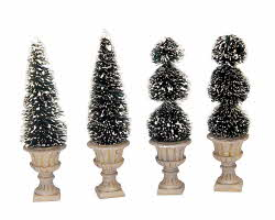 Lemax Village Collection Cone-Shaped & Sculpted Topiaries Set of 4 # 34965