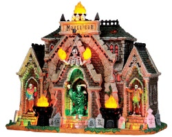 **NO OUTER BOX** Lemax Spooky Town All Hallows Mausoleum with Adaptor # 35491 **READ DESCRIPTION**