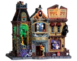 **NO OUTER BOX** Lemax Spooky Town Grim Reaper's Department Store with Adaptor # 35492 **READ DESCRIPTION**