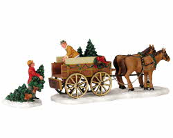 Lemax Village Collection Christmas Tree Wagon Set of 2 # 43451