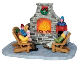 Lemax Village Collection Outdoor Fireplace Battery Operated # 44753